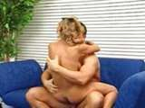German milf extreme hardcore fucking on blue armchair