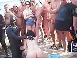 Nude beach outdoor group party fuck on the hot beach in front of all everybody